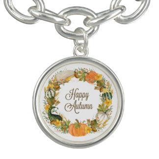 fall watercolor gourd and pumpkin wreath charm bracelet