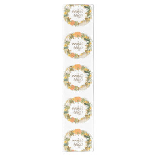 fall watercolor gourd and pumpkin wreath short table runner