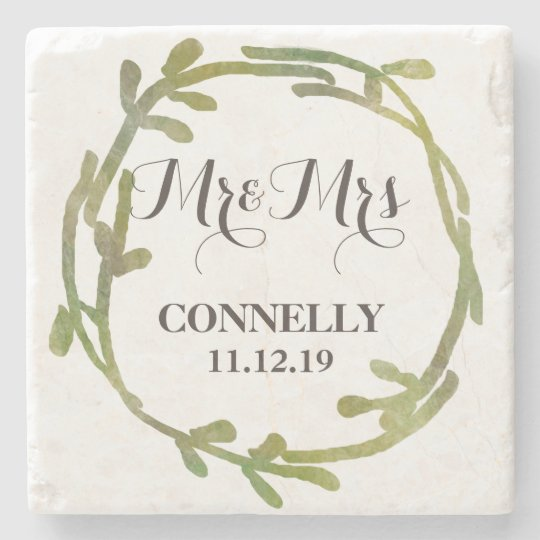 Fall Watercolor Green Leaves Wedding Stone Beverage Coaster