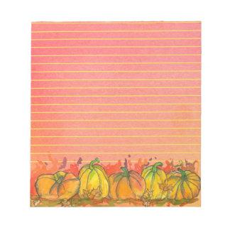 Fall Watercolor Pumpkins Lined Notepad