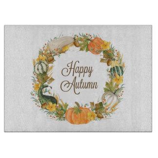fall watercolor wreath cutting board