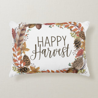 fall watercolor wreath decorative pillow