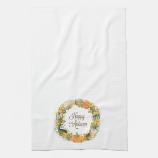fall watercolor wreath kitchen towel