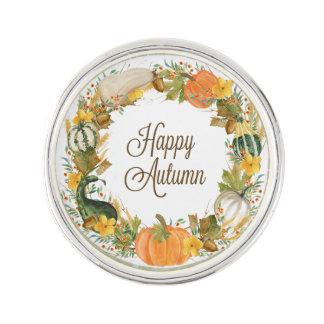 fall watercolor wreath lapel pin