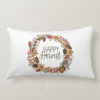 fall watercolor wreath lumbar pillow