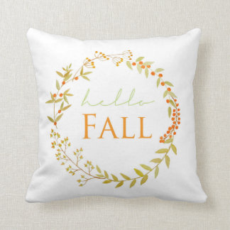 Fall Watercolor Wreath Pillow