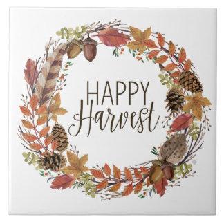 fall watercolor wreath tile