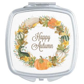 fall watercolor wreath vanity mirror