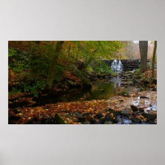 Fall Waterfall and Creek Pennsylvania Nature Photo Poster