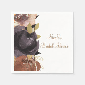 Fall Wedding Bold Glam Flowers Modern Floral Disposable Napkin