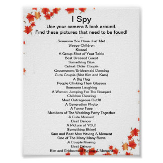 Fall Wedding I Spy Game Poster