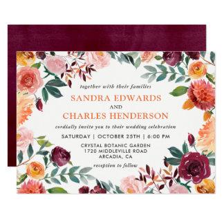 Fall Wedding Marsala Pink Orange Botanical Card