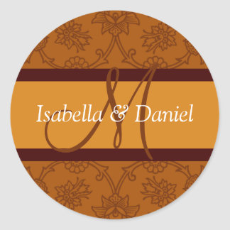 Fall Wedding Monogram Rustic Autumn Weddings Round Sticker