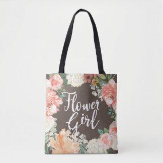 Fall Wedding Peach Watercolor Floral Flower Girl Tote Bag