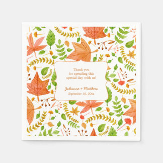 Fall wedding reception napkins / thank you message disposable napkin