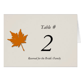 Fall Wedding Reception Table Number