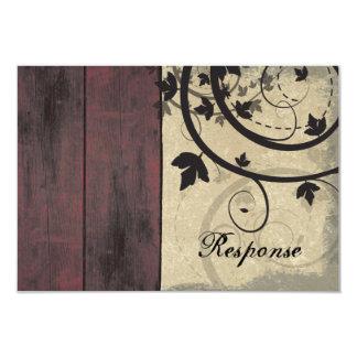 "Fall Wedding Response RSVP Card Barn Board 3.5"" X 5"" Invitation Card"