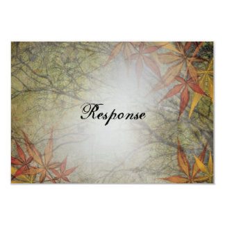 "Fall Wedding Response RSVP Card Branches Leaves 3.5"" X 5"" Invitation Card"