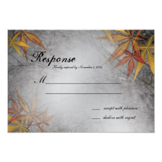 Fall Wedding Response RSVP Card Branches Leaves