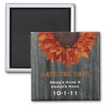 Fall Wedding Save The Date - Barnwood & Sunflower Refrigerator Magnet