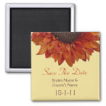 Fall Wedding Save The Date - Orange Sunflower Magnets