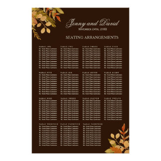 Fall Wedding Seating Arrangement Poster