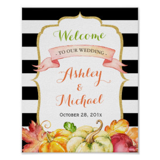 Fall Wedding Sign | Autumn Pumpkins Leaves Theme Poster