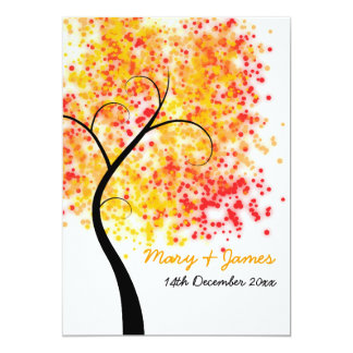 "Fall Wedding Swirly Tree ""Save The Date"" Card"