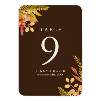 Fall Wedding Table Numbers Card