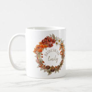Fall Wedding Wreath Orange Bridesmaid Name ID465 Coffee Mug