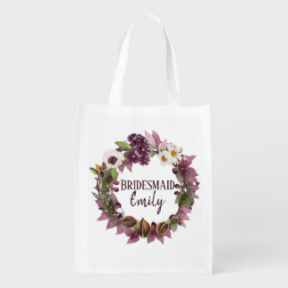 Fall Wedding Wreath Plum Bridesmaid Name ID465 Reusable Grocery Bag