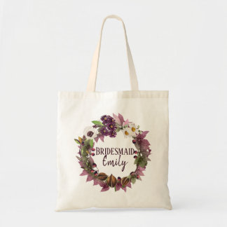 Fall Wedding Wreath Plum Bridesmaid Name ID465 Tote Bag