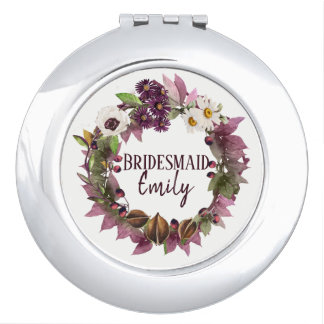 Fall Wedding Wreath Plum Bridesmaid Name ID465 Vanity Mirrors