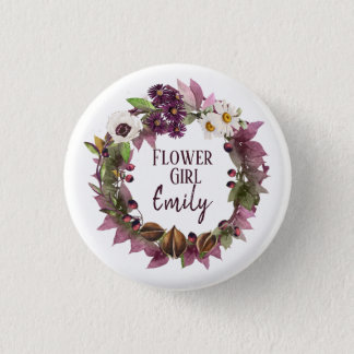 Fall Wedding Wreath Plum Flower Girl ID465 1 Inch Round Button