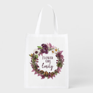 Fall Wedding Wreath Plum Flower Girl ID465 Reusable Grocery Bag