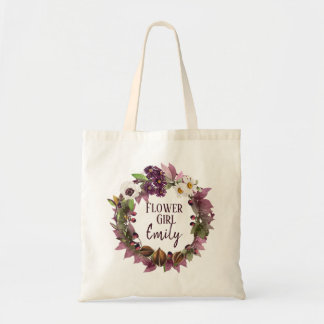 Fall Wedding Wreath Plum Flower Girl ID465 Tote Bag