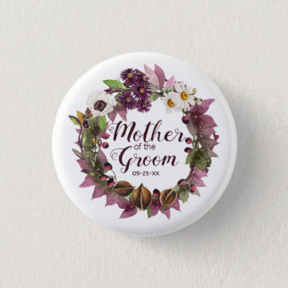 Fall Wedding Wreath Plum Mother of Groom ID465 1 Inch Round Button