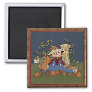 """Fall Welcome"" Autumn Scarecrow Magnet"