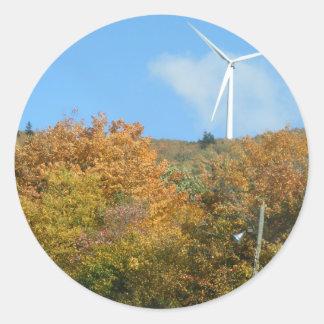 Fall Windmill at Mars Hill Mountain Maine Round Sticker