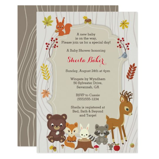 Fall Woodland Themed Baby Shower Invitation