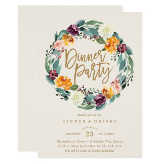 Fall Wreath Dinner Party Invitation