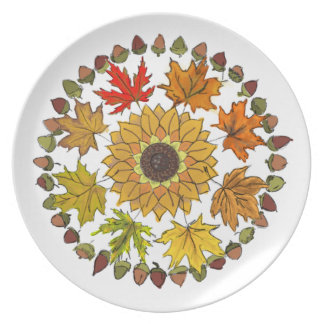 Fall Wreath Dinner Plate – Leaves and Acorns
