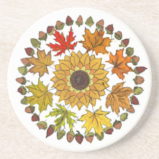 Fall Wreath Drink Coaster with Leaves and Acorns