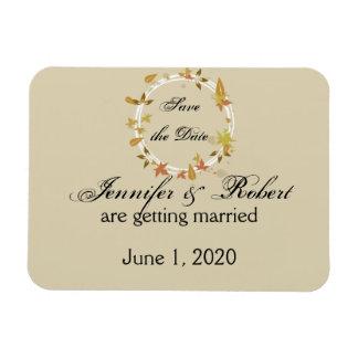 Fall Wreath Monogram Wedding Save the Date Rectangular Photo Magnet