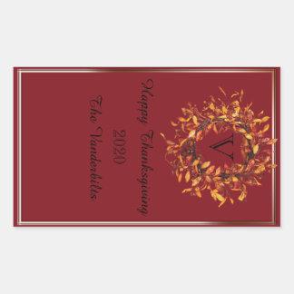 Fall Wreath Monogram Wine Bottle Label