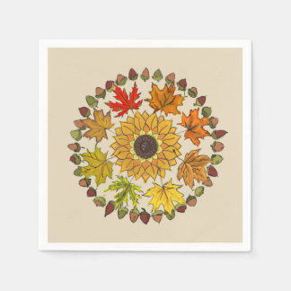 Fall Wreath Napkin With Leaves and Acorns Disposable Napkin
