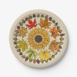 Fall Wreath Paper Plate With Leaves and Acorns