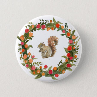 Fall wreath with squirrel watercolour 2 inch round button