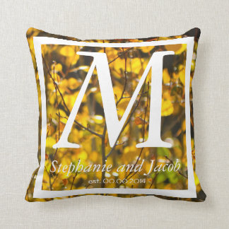 Fall yellow Aspen tree   Wedding keepsake pillow