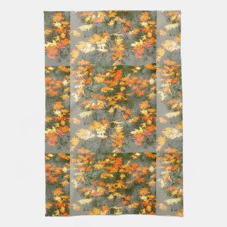 fallen autumn leaves in rain kitchen towel